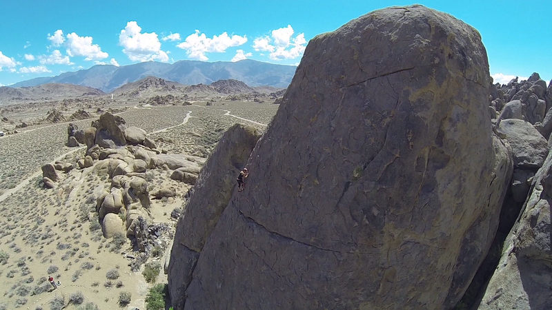 Drone shot of my wife on Ankles Away in the Alabama Hills