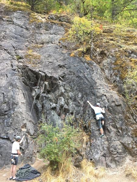 Melissa climbing Stinky Salmon