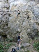 Rock Climbing Photo: Jun halfway up Ghost Dancer