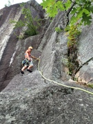 Rock Climbing Photo: Looking up from belay atop p2 at the start of p3