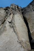 Rock Climbing Photo: Pitch 1 of Burgner Stanley is the wide hand crack ...