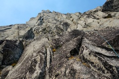 Rock Climbing Photo: Pitch 2 is a bit in-obvious but follows the knobby...
