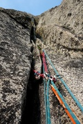 Rock Climbing Photo: Looking up Pitch 3 (ends at Snafflehound Ledge).