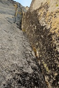 Rock Climbing Photo: Pitch 5 starts in a shallow dihedral with a crack ...