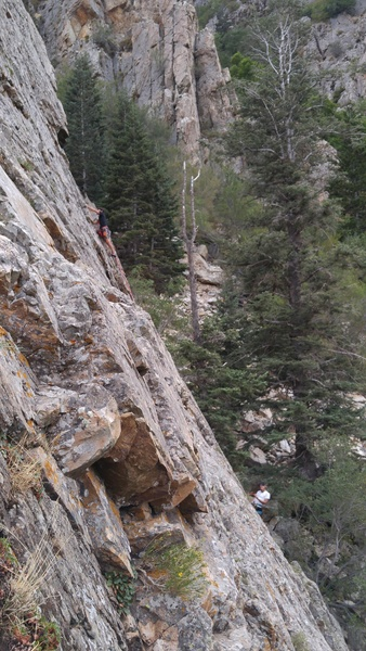 The little black roof above the climber is the cross over part.