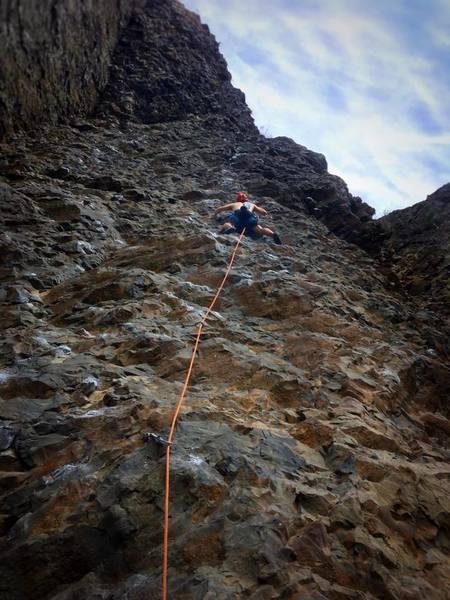 Climbing Pit Lizard 5.11a at Deep Creek