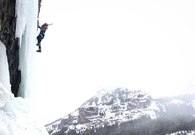 Me top roping Thin Chance WI3 (very photo-friendly climb) < Mummy Area < Hyalite Canyon < Montana
