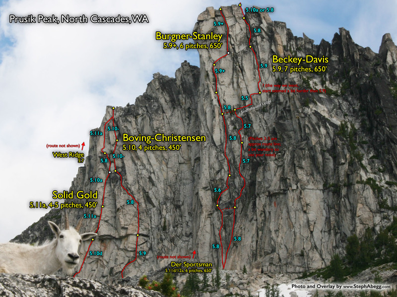 Rock Climbing Photo: Route Overlays Prusik Peak.