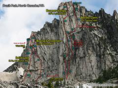 Rock Climbing Photo: Route Overlays Prusik Peak.
