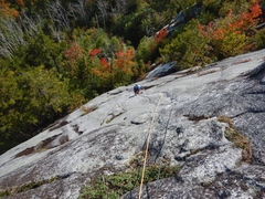 Diane C. enjoying the water dike on Red Stinger. Great route.