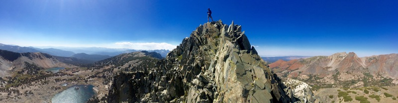 Panorama of Ray Eckland on top of the Stego Spine.