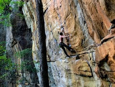 Rock Climbing Photo: Working the dead point to the mail slot.