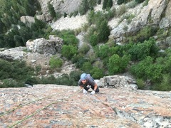 Rock Climbing Photo: Coming up the thin slabby section near the top of ...