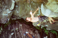 Last clip before the weird V7 redpoint crux of Parallel.  Photo: Phil Schuld
