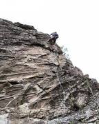 Rappelling upper portion of Six Pack 5.9+/10a at Mirabeau Park