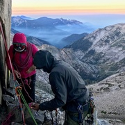 Rock Climbing Photo: First light on our accidental bivy ledge- if you'r...