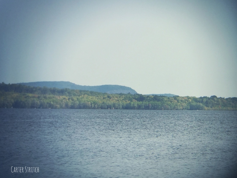The cliff seen from Lake Gogebic.