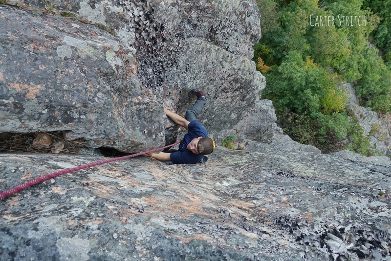 Jake climbing Tripple Roof Dihedral (TRD)