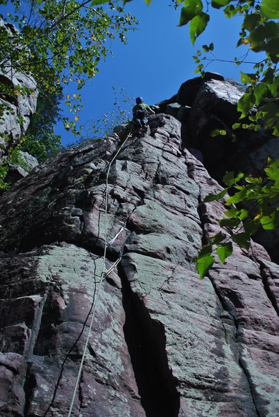 Eric Landmann high on the lead of this fun Double Overhang variation.