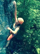 Rock Climbing Photo: Naomi Risch at the pumpy move before the rest
