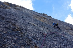 Rock Climbing Photo: Pitch 5. The climbers above are at the belay at th...