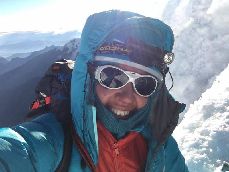 summit selfie on Alpamayo