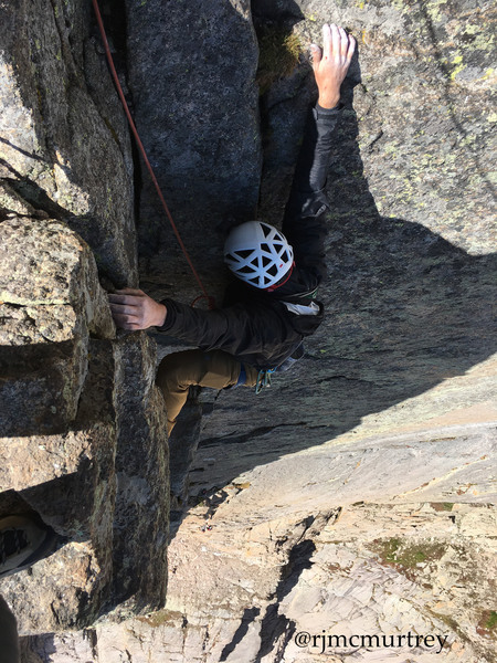 Top of pitch 7 crux. A video summary of our climb is also on youtube.