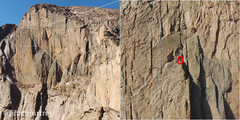 Rock Climbing Photo: A distant photo zoomed in to show me standing at t...