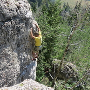 Jason Peterson on the first ascent.