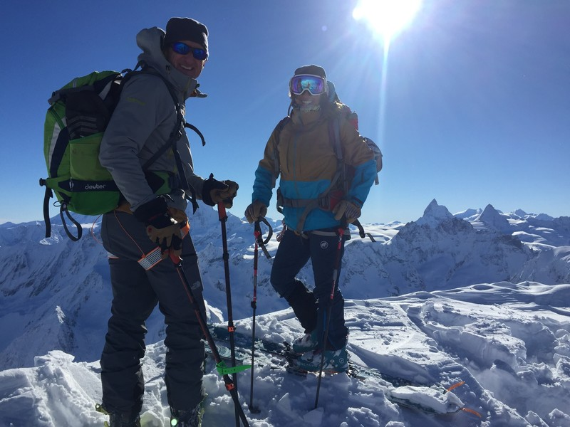 May 2017, My daughter and I on a 20 mile ski tour to Zermatt, past the North face of Matterhorn you can see in the background.