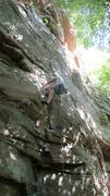 Side pulling hard on the thin but good crack. Loved this climb
