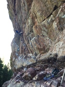 Dave Sheldon on the low crux, a couple of 5.12 moves to a jug.