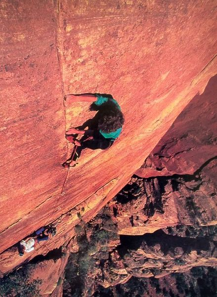 Topher Donahue on the crux pitch of Lovelace (5.12+), Zion NP