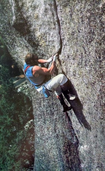 Ray Jardine on The Phoenix (5.13a), Yosemite Valley<br> <br> Photo by George Meyers