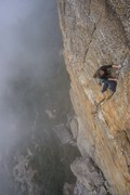 Rock Climbing Photo: Top of pitch 2. setting up for crux moves