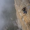 Top of pitch 2. setting up for crux moves