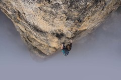 Rock Climbing Photo: Coming up above the fog on the 4th pitch