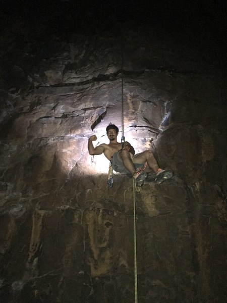 Rappelling after a night climb