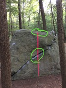Rock Climbing Photo: The line is is red and I circled the two starting ...
