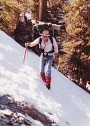 Joe O'Connor crossing snow, Spring 1985