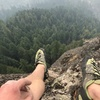 View from the anchors of the crux pitch