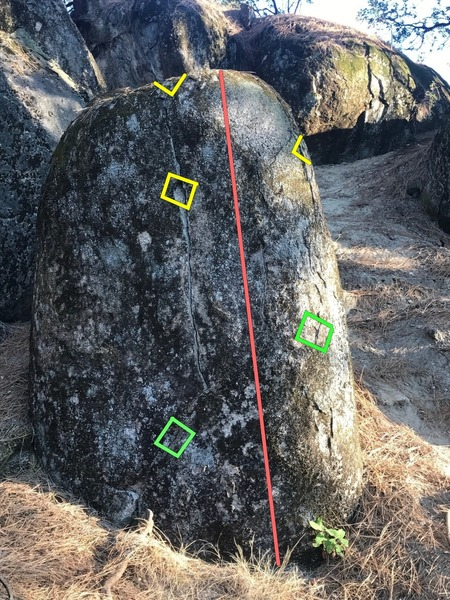 Hirschman's Thumb before it was cleaned. Yellow squares are the handholds and the green squares are the footholds.