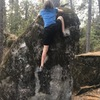 Me climbing a boulder I put on the site, Front'n Mossy. 