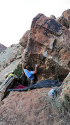 Slapping through the early arete.