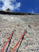 3rd belay station. Looking up at the roof that doesn't really need to be dealt with.