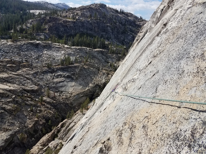 My last tricam placements before an easy traverse to the 3rd anchor.
