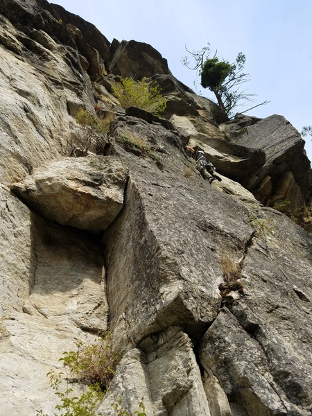 Heading into the fun crux crack section of The Shield.