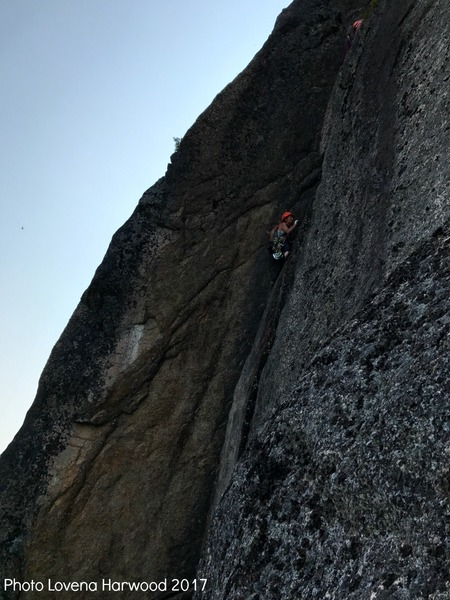 Sarah Garlick near the finish of Black Crack with Scott on her belay. 9.17.2017