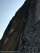 Sarah Garlick near the finish of Black Crack with Scott on her belay.