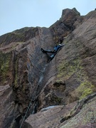 Rock Climbing Photo: Tim leading the P3 dihedral